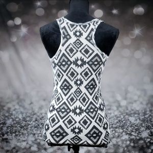 Tops - White and Black Tribal Racerback Tank Top